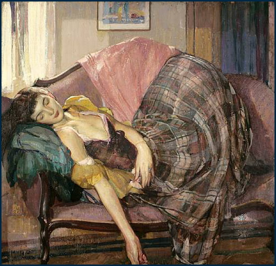 Richard Edward Miller (1875-1943) : La Jupe à carreaux dans Toile 57-046-Richard_Edward_Miller-