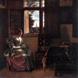 Pieter de Hooch (1629-après 1684) : Femme lisant une lettre - 1664 dans Citatons : lecture 57-226-Pieter_de_Hooch_-_Woman_Reading_a_Letter--300x300
