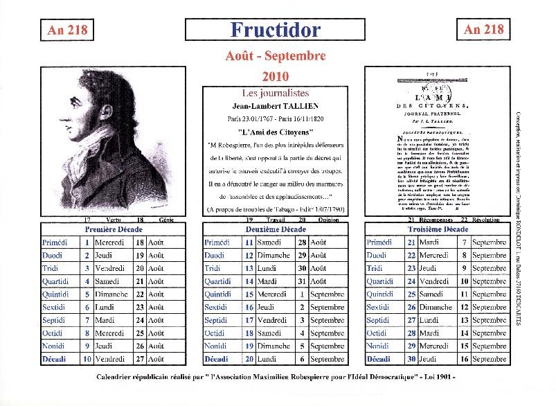 57-261-frutidor- Calendrier dans Ephémérides